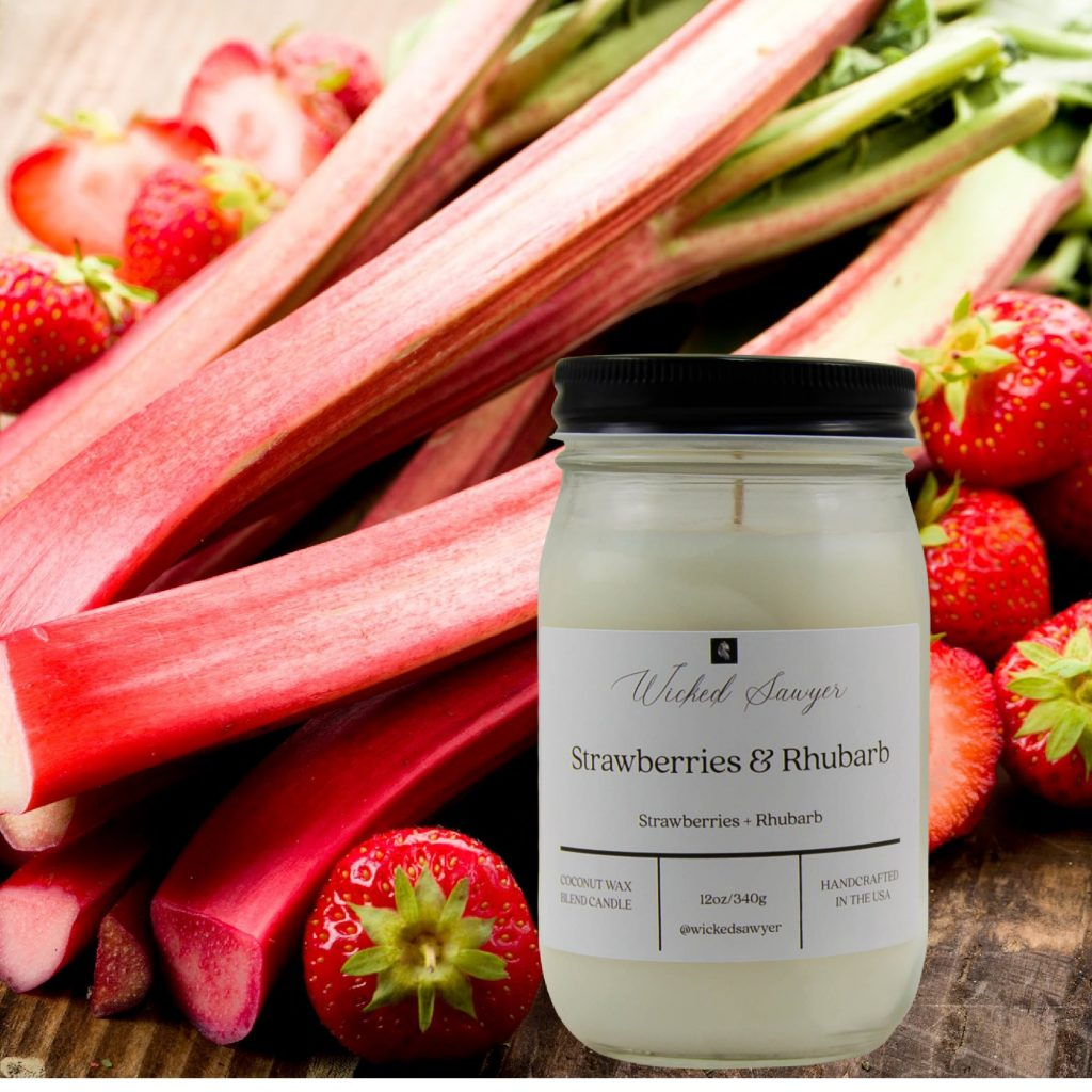 strawberry rhubarb scented candle