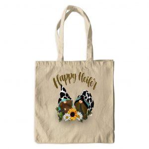 happy heifer gnome canvas tote bag